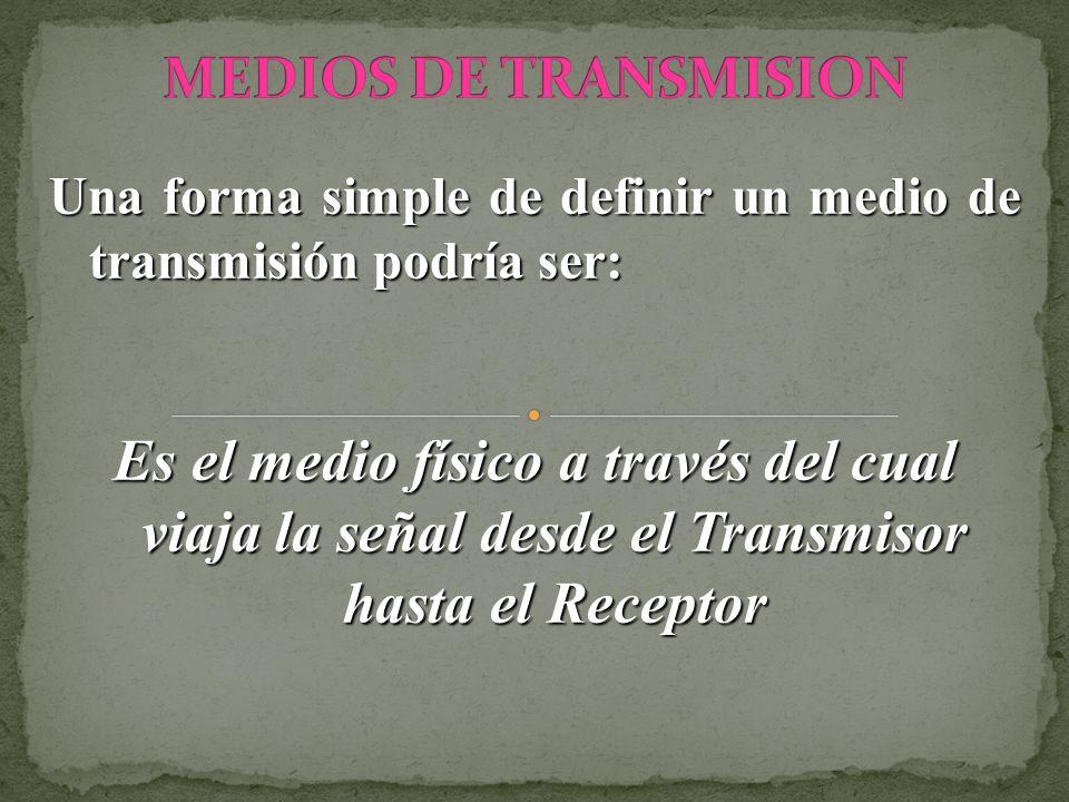 MEDIOS DE TRANSMISIONUna forma simple de definir un medio de transmisión podría ser: