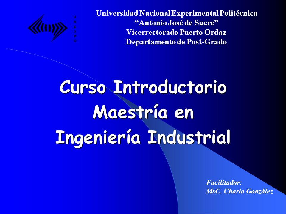 Curso Introductorio Maestría en Ingeniería Industrial