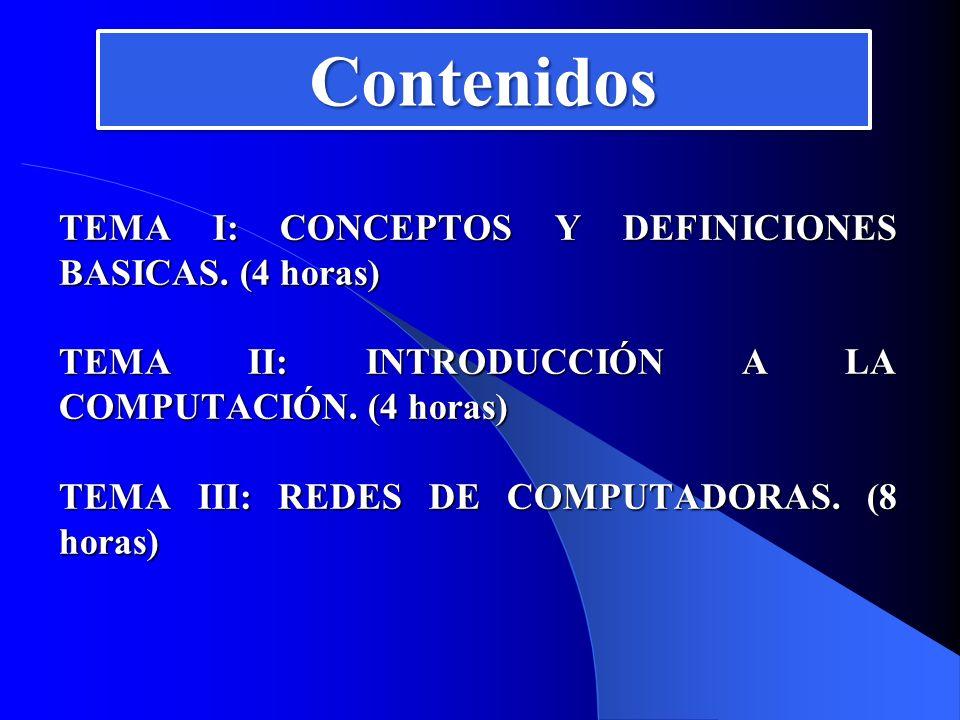 Contenidos TEMA I: CONCEPTOS Y DEFINICIONES BASICAS. (4 horas)