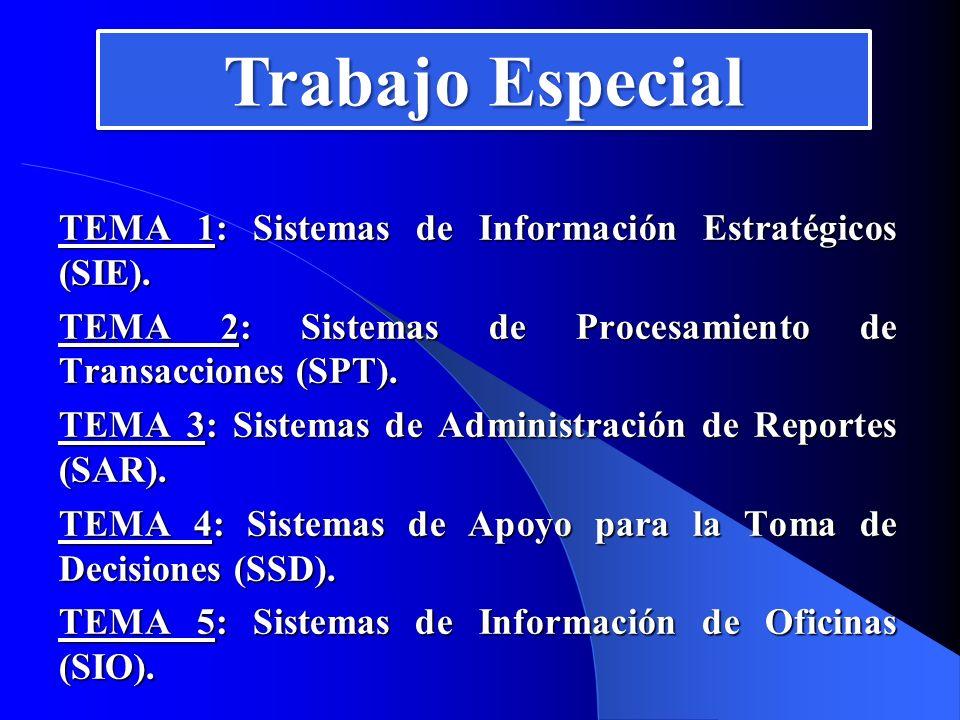 Trabajo Especial TEMA 1: Sistemas de Información Estratégicos (SIE).