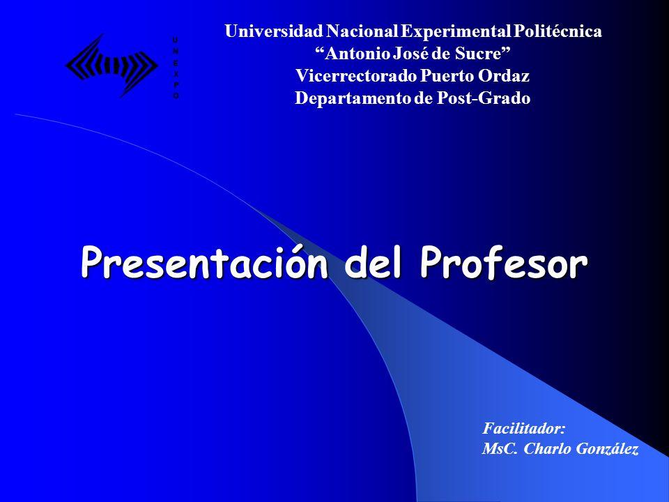 Presentación del Profesor