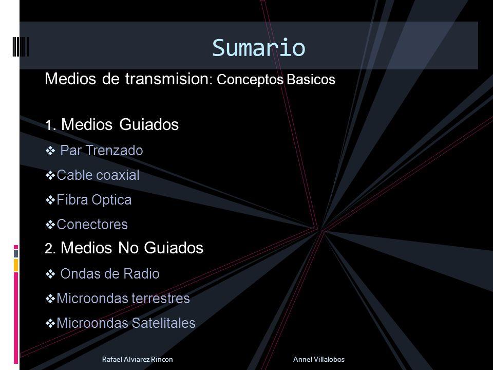 Sumario Medios de transmision: Conceptos Basicos 1. Medios Guiados