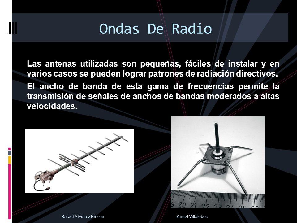 Ondas De Radio Las antenas utilizadas son pequeñas, fáciles de instalar y en varios casos se pueden lograr patrones de radiación directivos.