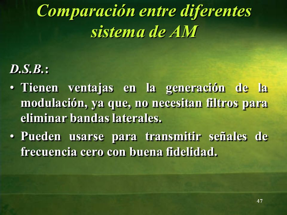 Comparación entre diferentes sistema de AM