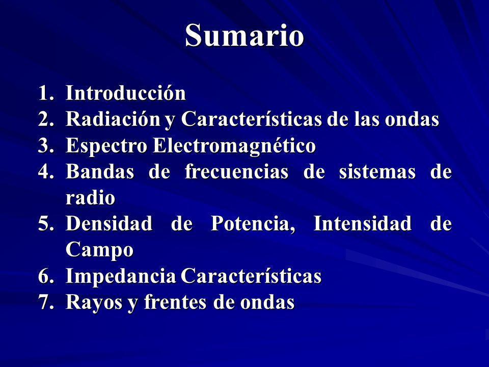 Sumario Introducción Radiación y Características de las ondas