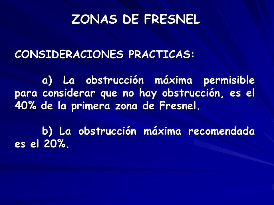 ZONAS DE FRESNEL CONSIDERACIONES PRACTICAS: