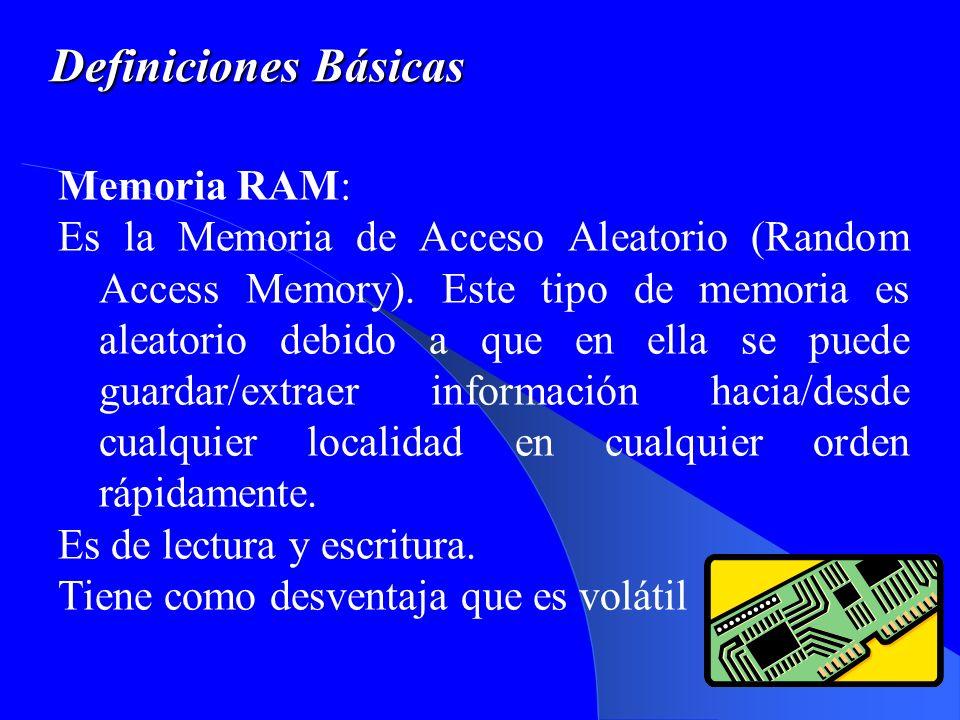 Definiciones Básicas Memoria RAM: