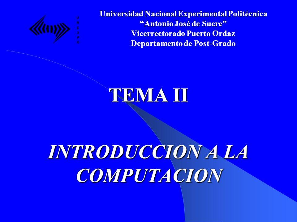 TEMA II INTRODUCCION A LA COMPUTACION