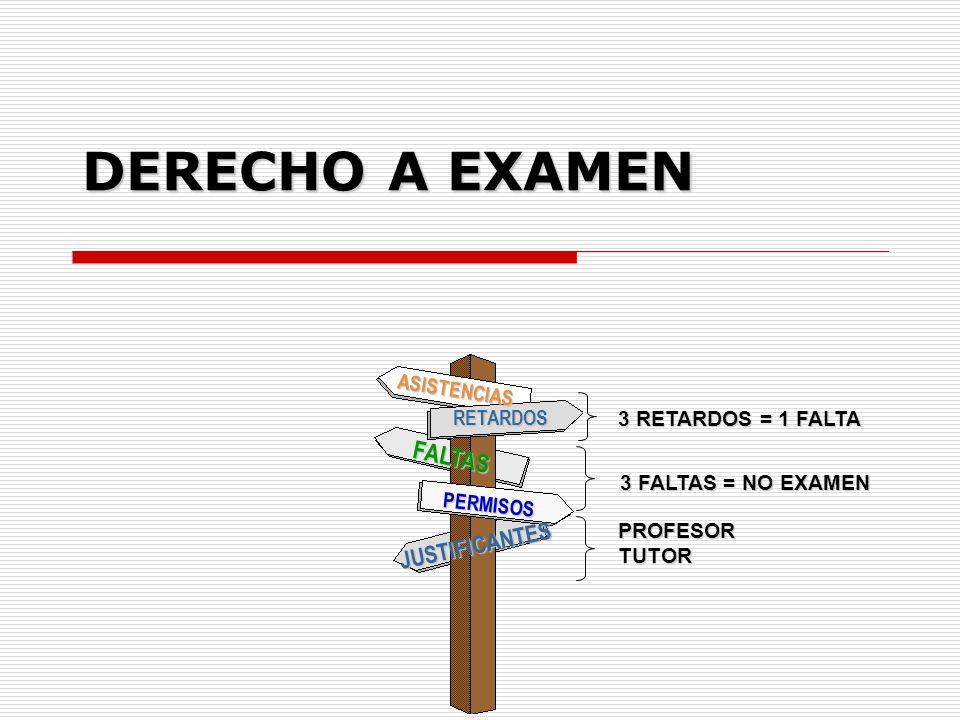 DERECHO A EXAMEN FALTAS JUSTIFICANTES ASISTENCIAS RETARDOS