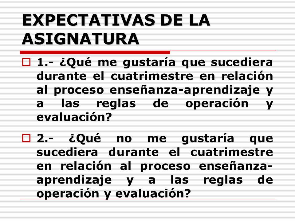 EXPECTATIVAS DE LA ASIGNATURA