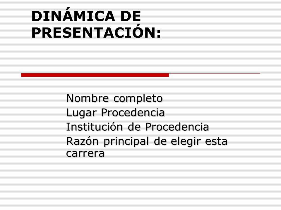 DINÁMICA DE PRESENTACIÓN: