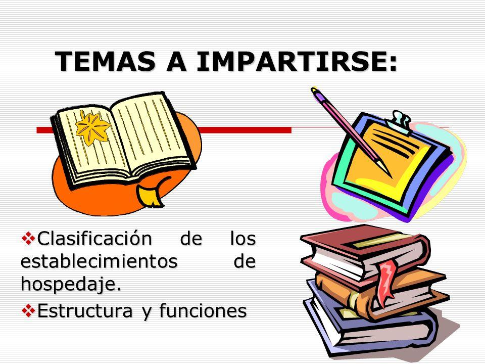 TEMAS A IMPARTIRSE: Clasificación de los establecimientos de hospedaje. Estructura y funciones