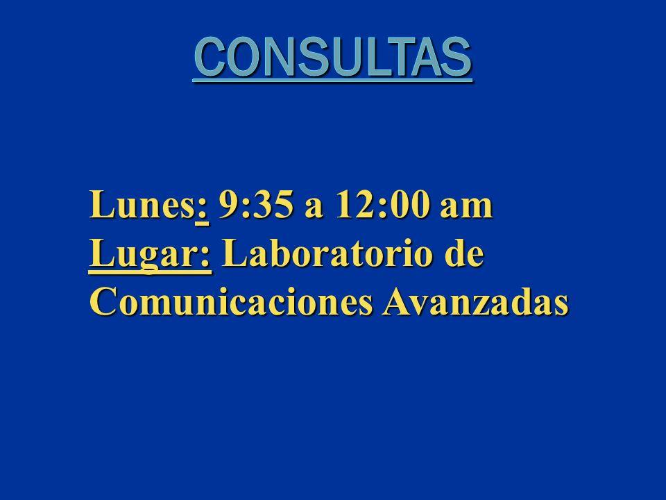 Consultas Lunes: 9:35 a 12:00 am Lugar: Laboratorio de Comunicaciones Avanzadas