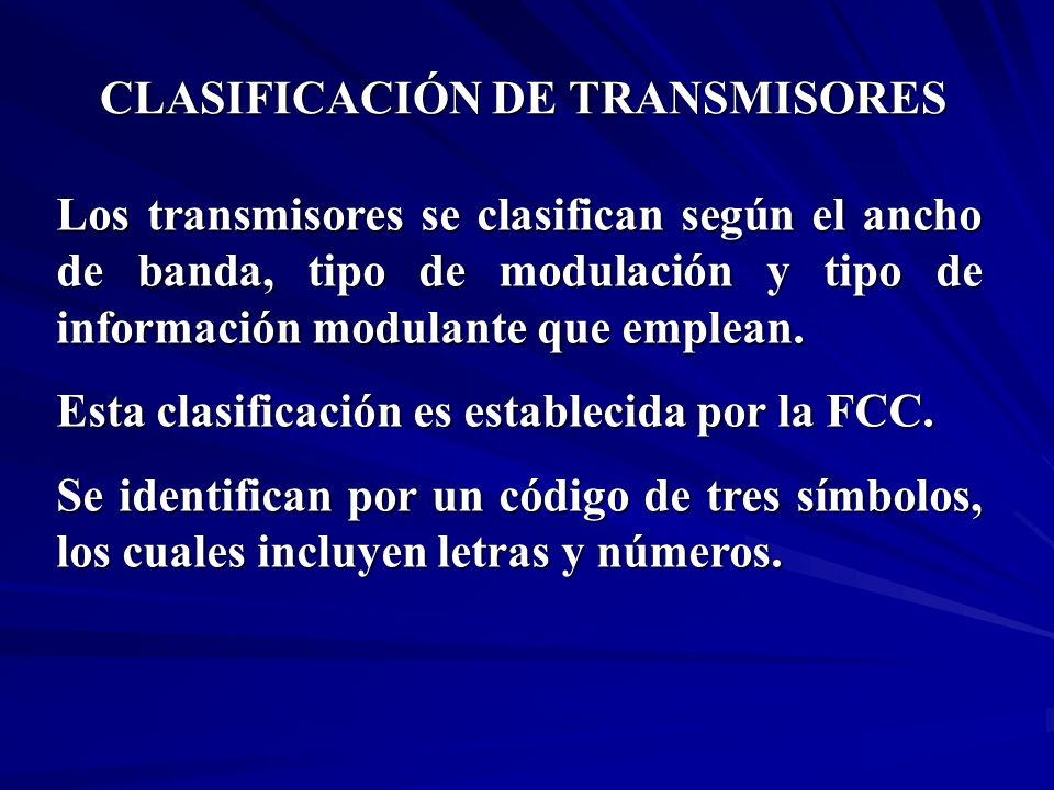 CLASIFICACIÓN DE TRANSMISORES