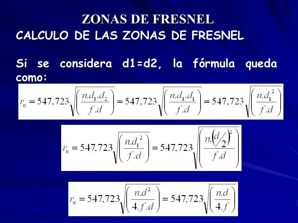 ZONAS DE FRESNEL CALCULO DE LAS ZONAS DE FRESNEL