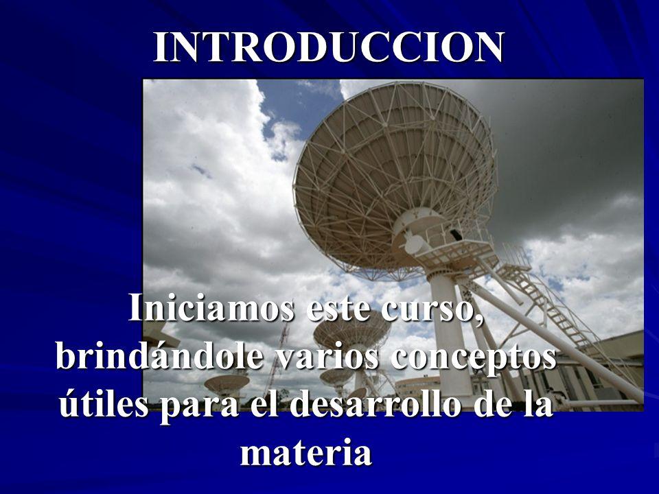 INTRODUCCION Iniciamos este curso, brindándole varios conceptos útiles para el desarrollo de la materia.