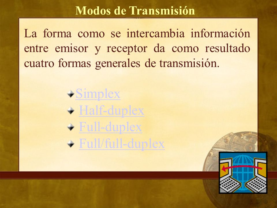 Simplex Half-duplex Full-duplex Full/full-duplex Modos de Transmisión
