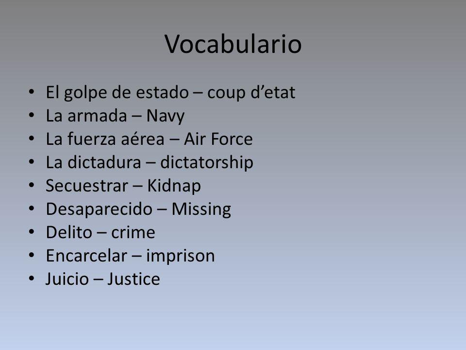 Vocabulario El golpe de estado – coup d'etat La armada – Navy