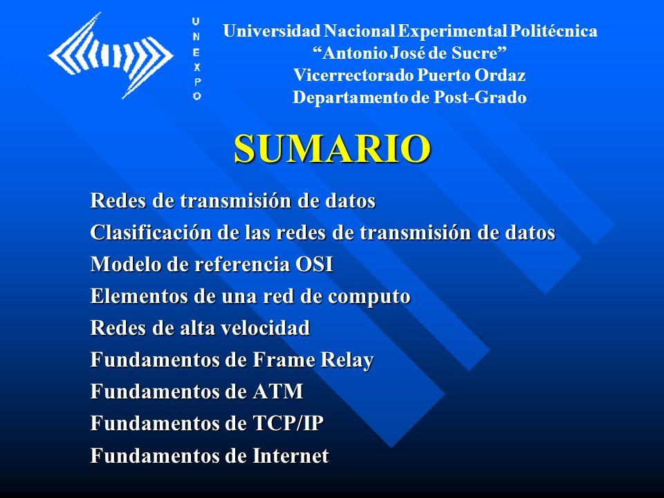 SUMARIO Redes de transmisión de datos
