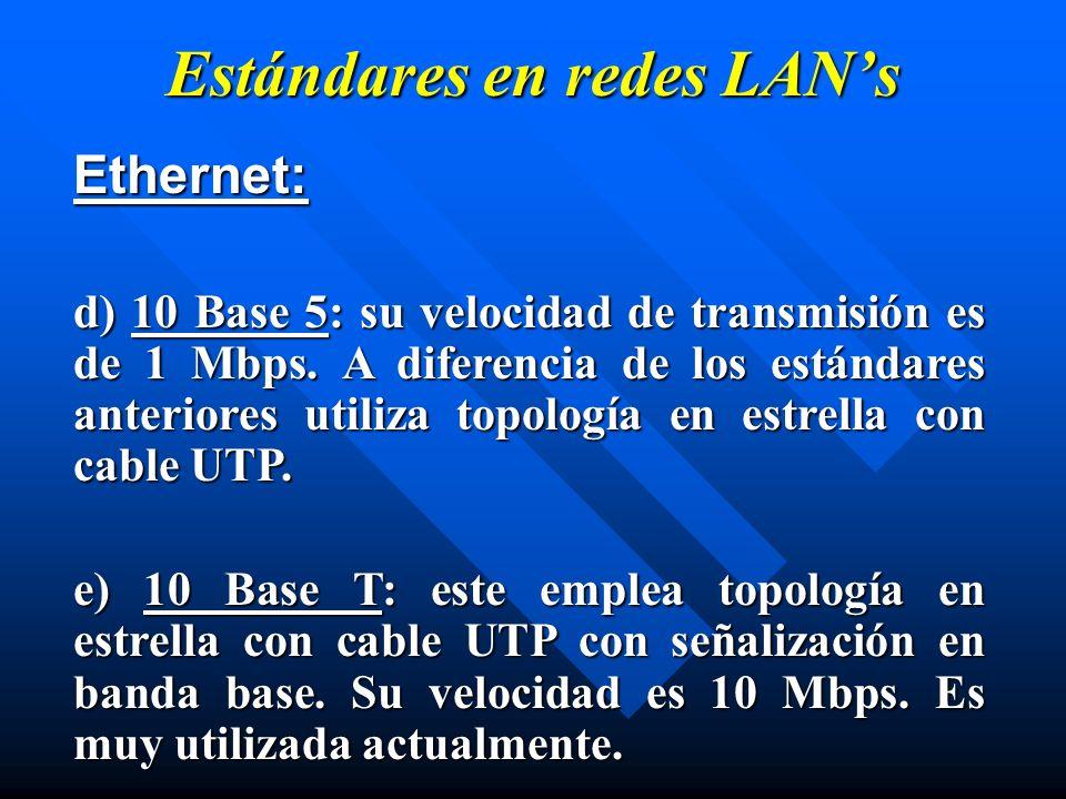 Estándares en redes LAN's