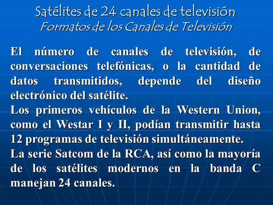 Satélites de 24 canales de televisión Formatos de los Canales de Televisión