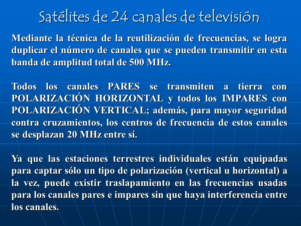 Satélites de 24 canales de televisión