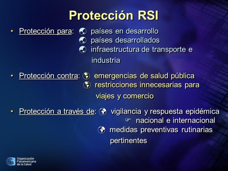 Protección RSI Protección para:  países en desarrollo  países desarrollados  infraestructura de transporte e.