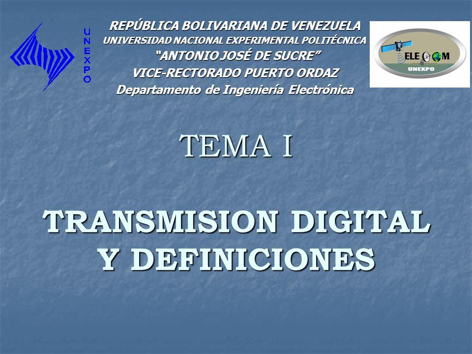 TEMA I TRANSMISION DIGITAL Y DEFINICIONES
