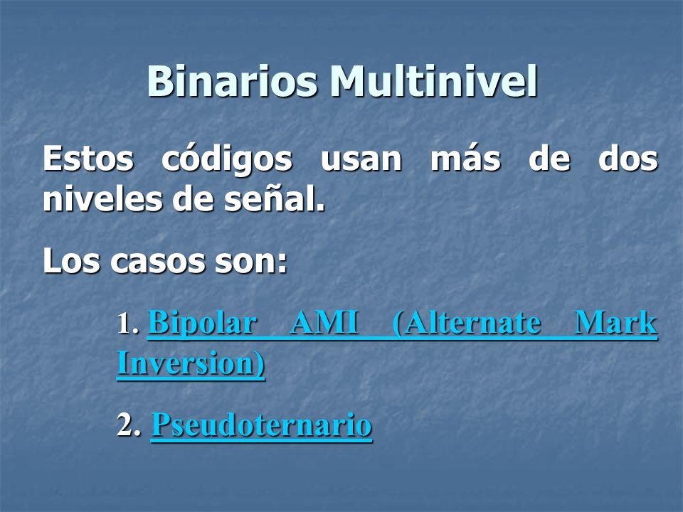 Binarios Multinivel Estos códigos usan más de dos niveles de señal.
