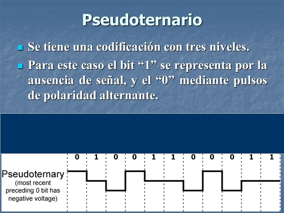 Pseudoternario Se tiene una codificación con tres niveles.