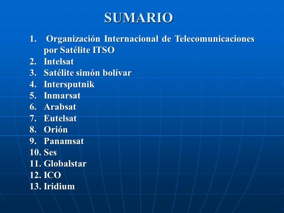 SUMARIO Organización Internacional de Telecomunicaciones por Satélite ITSO. Intelsat. Satélite simón bolívar.