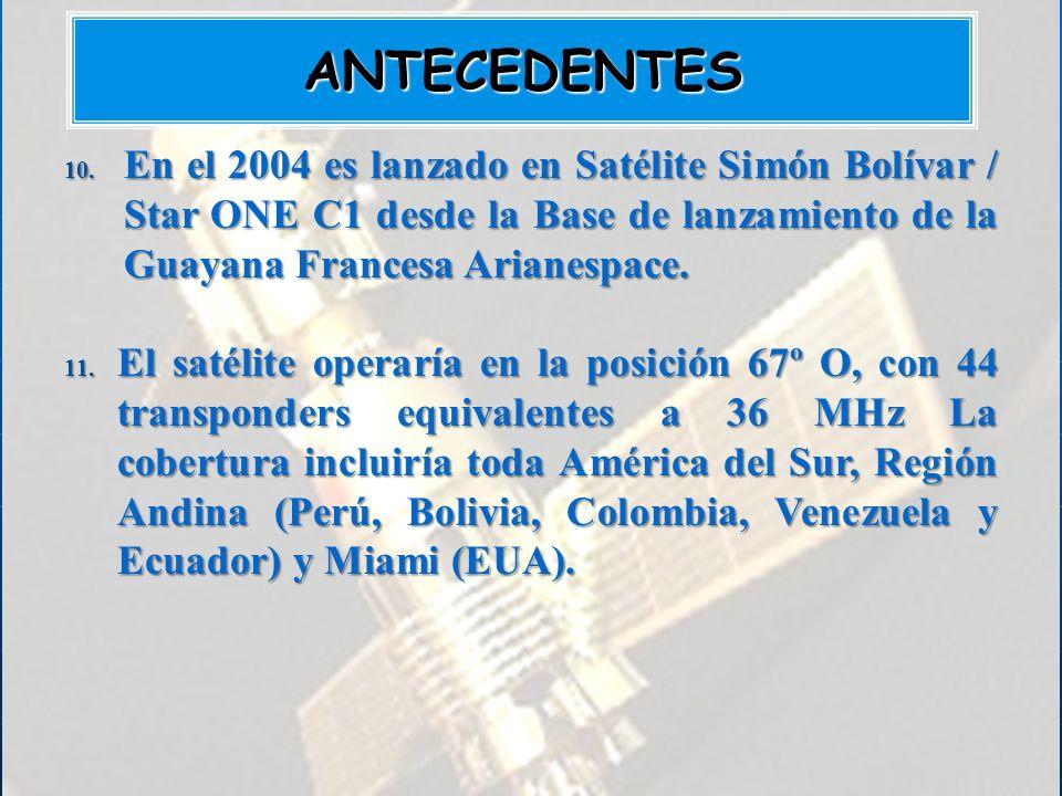 ANTECEDENTES En el 2004 es lanzado en Satélite Simón Bolívar / Star ONE C1 desde la Base de lanzamiento de la Guayana Francesa Arianespace.