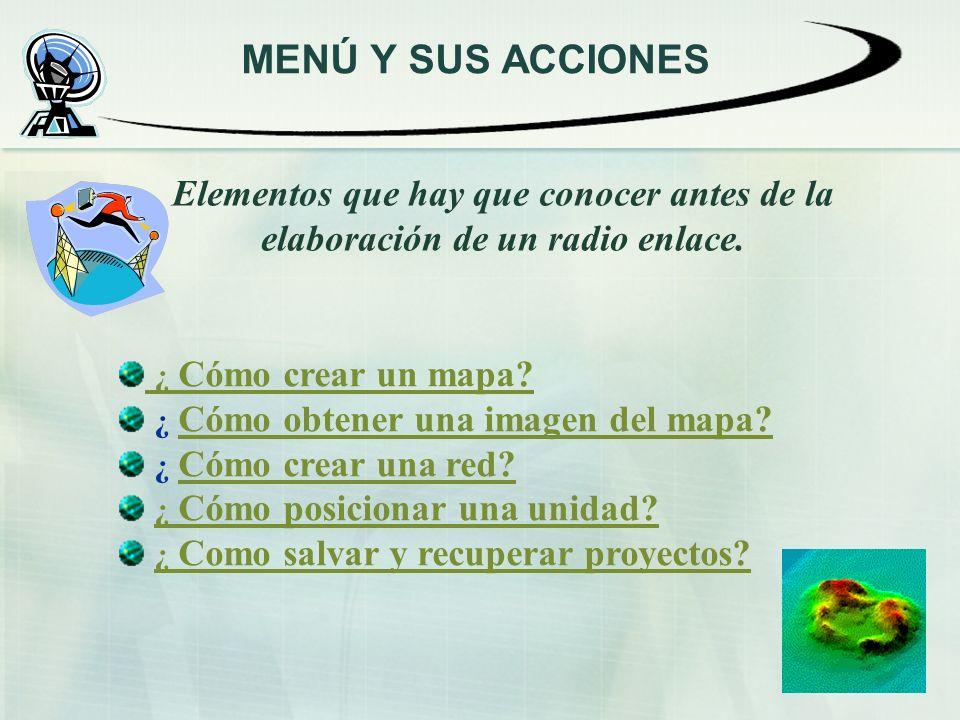 MENÚ Y SUS ACCIONES Elementos que hay que conocer antes de la elaboración de un radio enlace. ¿ Cómo crear un mapa