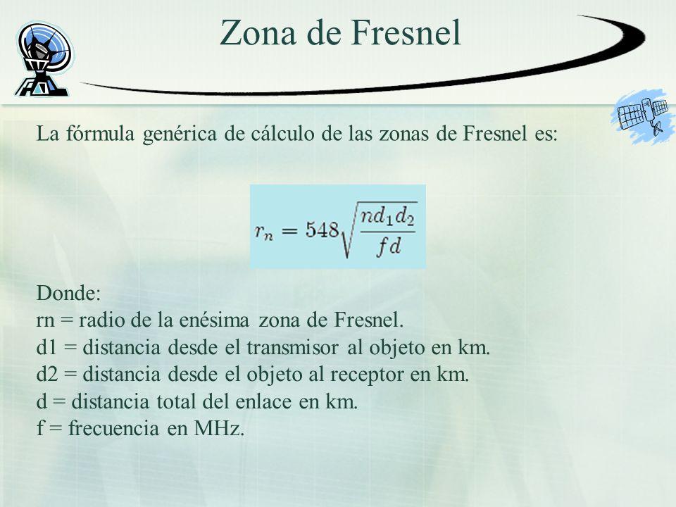 Zona de Fresnel La fórmula genérica de cálculo de las zonas de Fresnel es: Donde: