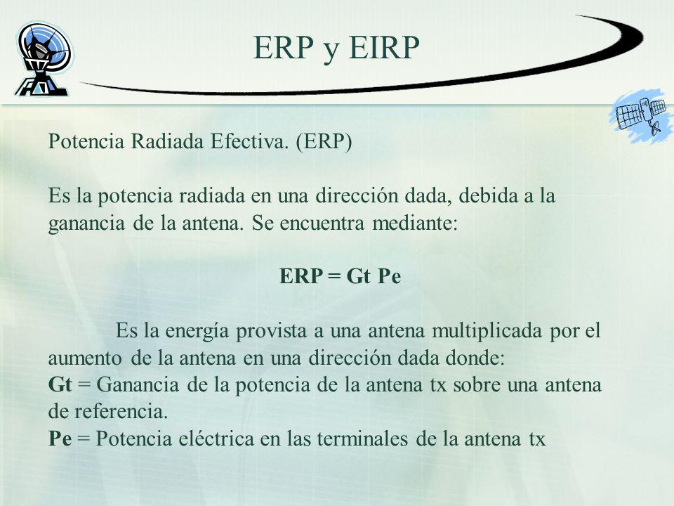 ERP y EIRP Potencia Radiada Efectiva. (ERP) Es la potencia radiada en una dirección dada, debida a la ganancia de la antena. Se encuentra mediante: