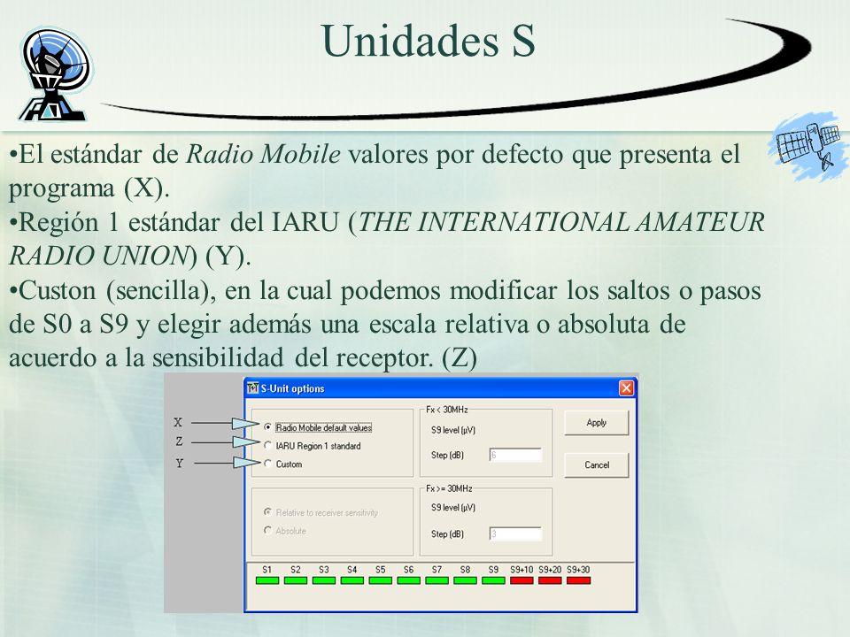 Unidades S El estándar de Radio Mobile valores por defecto que presenta el programa (X).