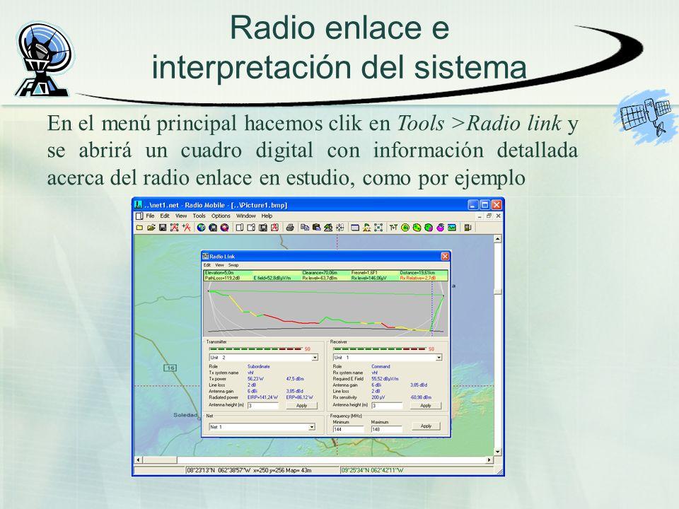 Radio enlace e interpretación del sistema