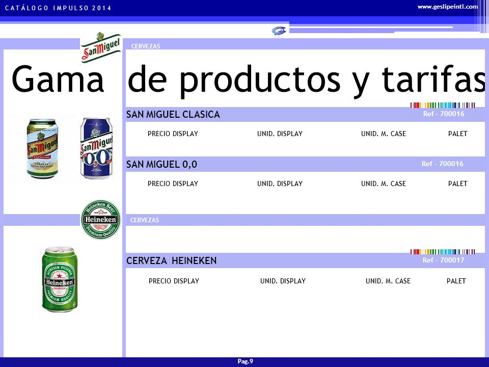 Gama de productos y tarifas