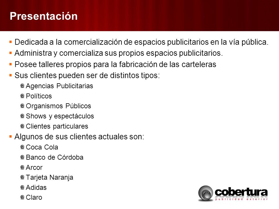 Presentación Dedicada a la comercialización de espacios publicitarios en la vía pública.