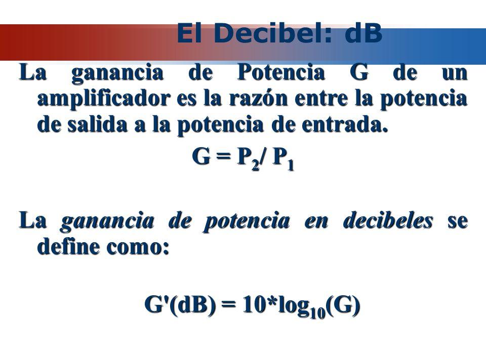 El Decibel: dB La ganancia de Potencia G de un amplificador es la razón entre la potencia de salida a la potencia de entrada.