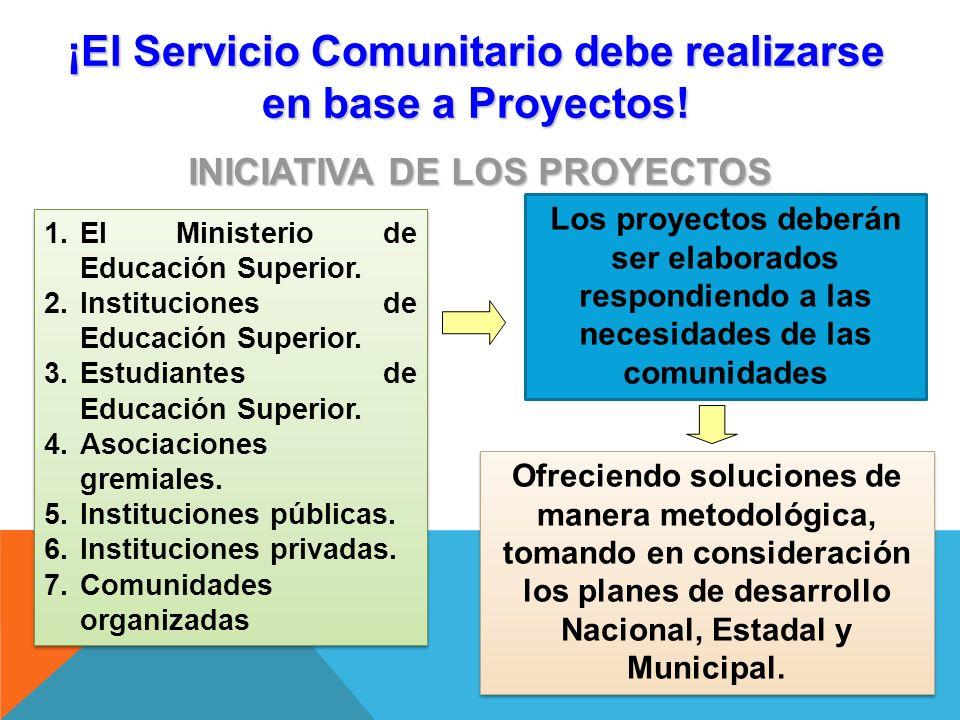 ¡El Servicio Comunitario debe realizarse en base a Proyectos!