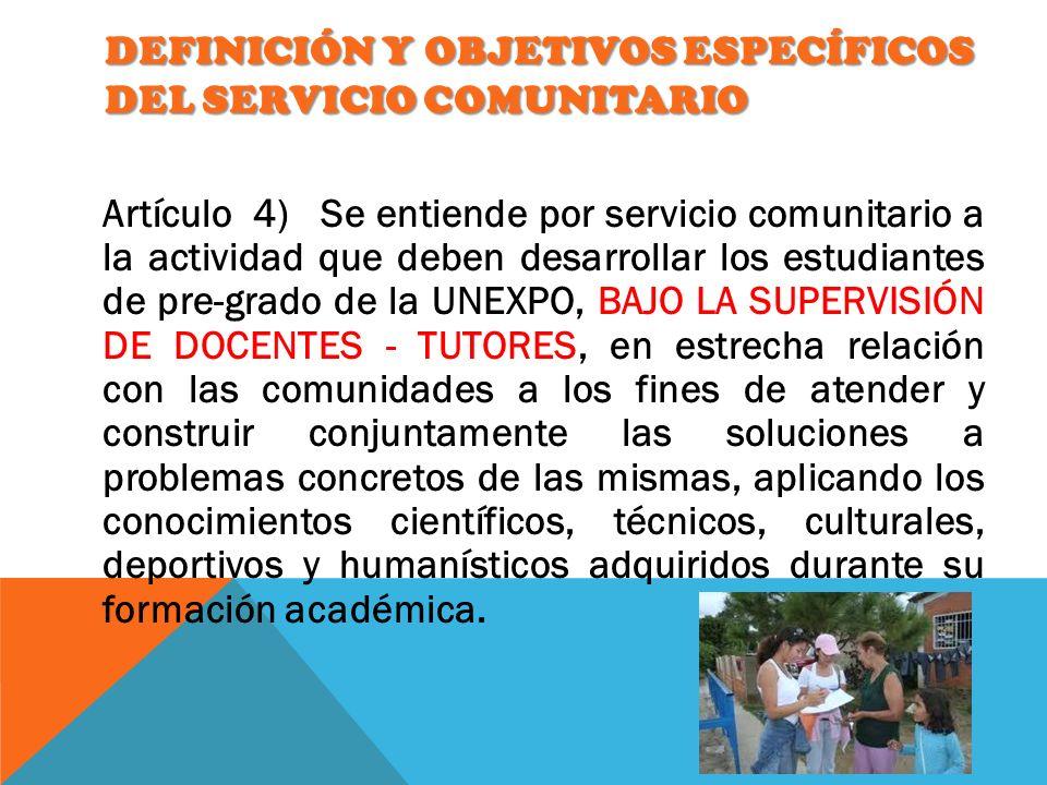Definición y Objetivos Específicos del Servicio Comunitario
