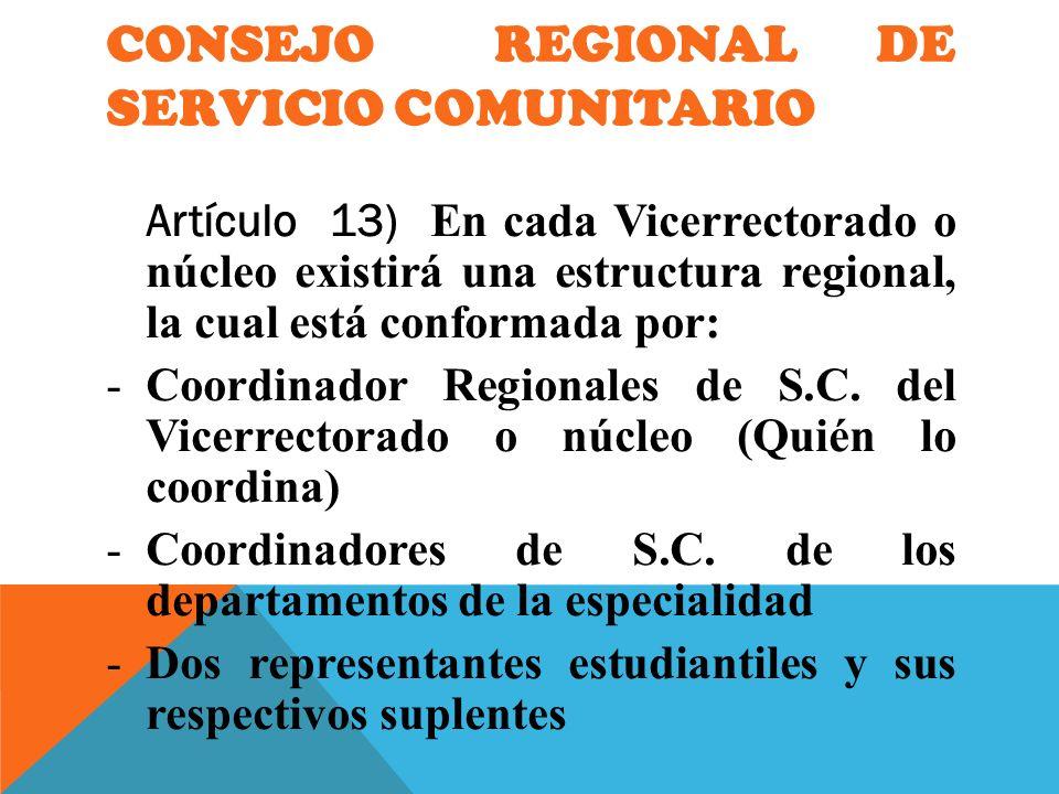 CONSEJO REGIONAL DE SERVICIO COMUNITARIO