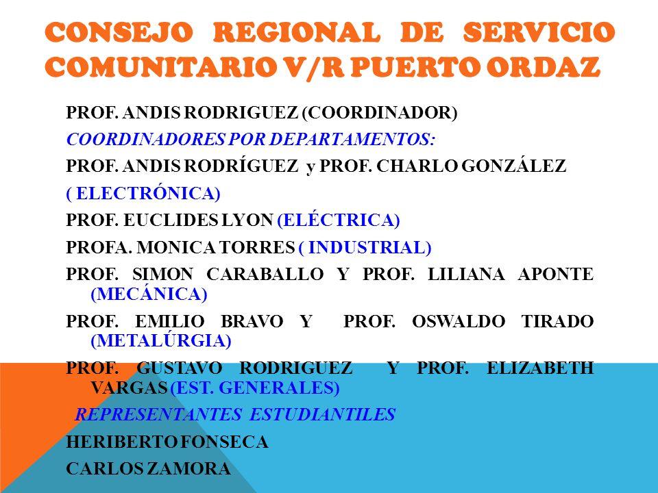 CONSEJO REGIONAL DE SERVICIO COMUNITARIO V/R PuertO ORDAZ