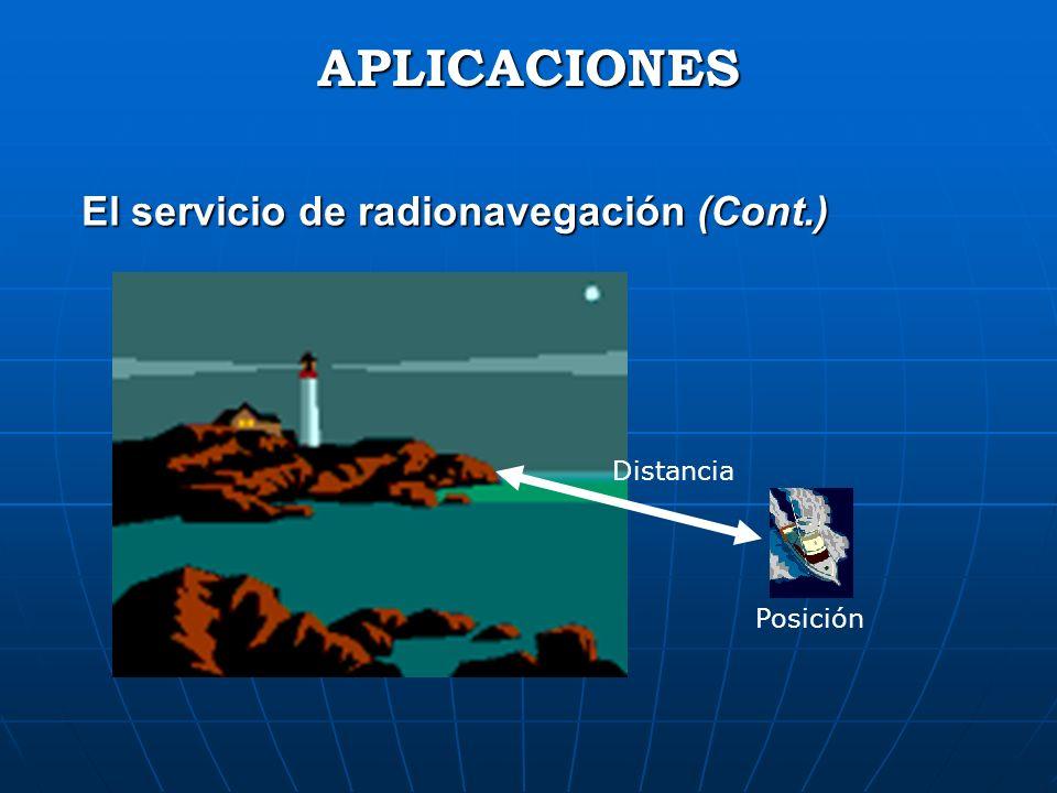 APLICACIONES El servicio de radionavegación (Cont.) Distancia Posición