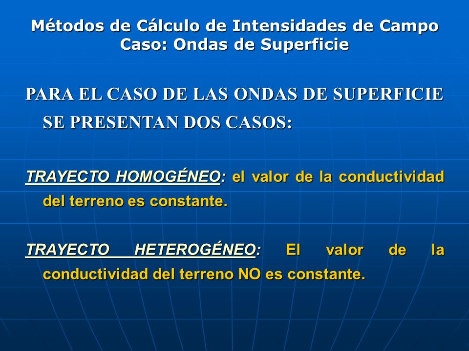 Métodos de Cálculo de Intensidades de Campo Caso: Ondas de Superficie
