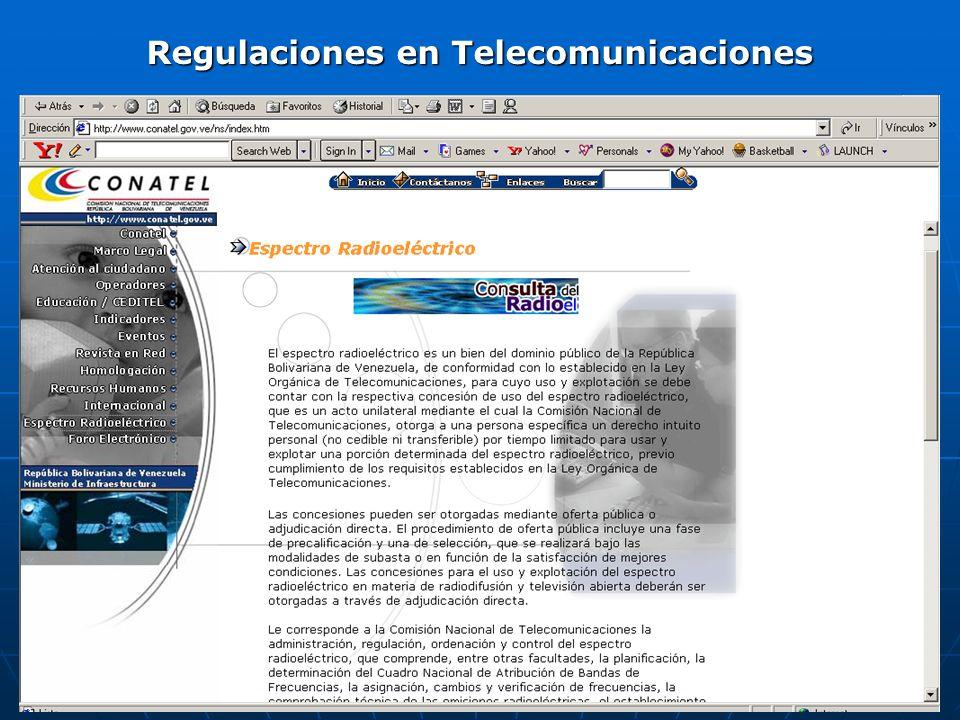 Regulaciones en Telecomunicaciones