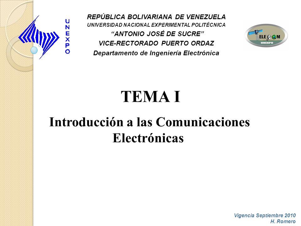 TEMA I Introducción a las Comunicaciones Electrónicas