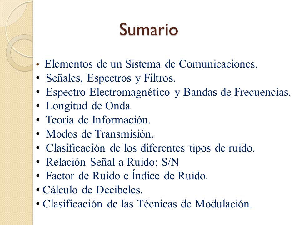 Sumario Señales, Espectros y Filtros.