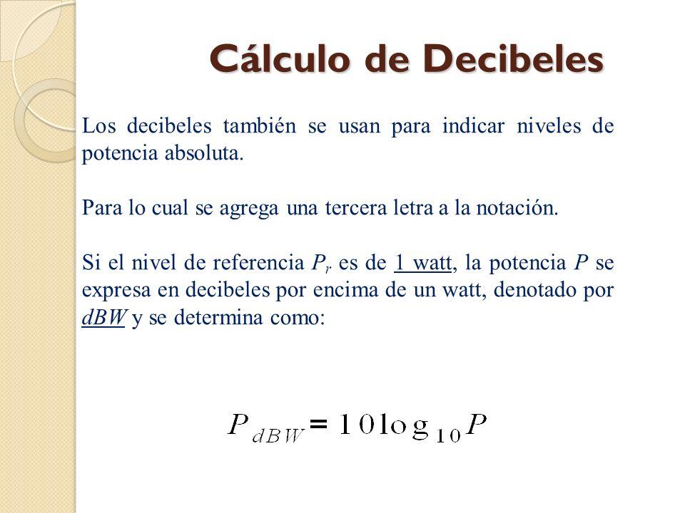 Cálculo de Decibeles Los decibeles también se usan para indicar niveles de potencia absoluta.